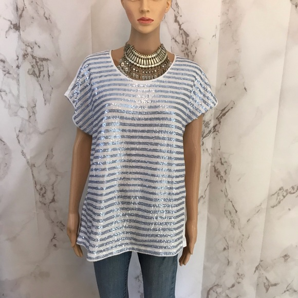 Chico's Tops - Chico's Sequin Front Tee Shirt